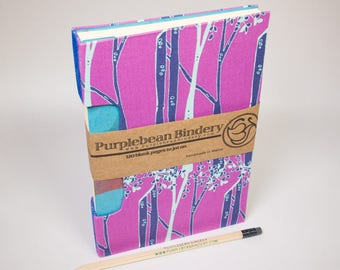 Journal, Notebook, Sketchbook or Guestbook, Unique and Hand-bound with Birch Trees in the Purple Haze