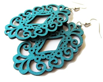 Teal Green Oval Lace Filigree Dangle Wooden Earrings