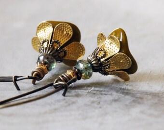 Olive Green Flower Earrings | Green Earrings | Flower Jewellery | Gift for Gardener | Flower Lover Gift | Nature Lover | Nature Jewelry