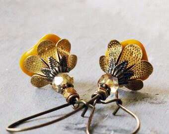 Yellow Flower Earrings | Floral Jewelry | Flower Lover Gift | Nature Jewelry | Flower Jewelry | Yellow Jewelry | Gardener Gift for Mom