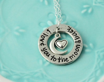 I love you to moon and back pewter necklace  /Hand stamped necklace / Pewter washer necklace