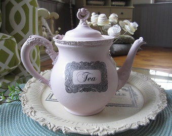 Chalk Painted Silver Teapot - Altered Teapot - Pink Teapot