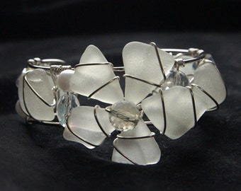 Sea Glass Cuff Bracelet with Flower Design and White Sea Glass