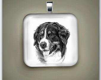 Bernese Mountain Dog Fine Art Glass Pendant