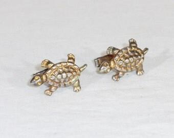 Vintage turtle cufflinks men's accessories gold tone