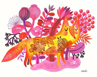 Sunshine Fox... - limited edition giclee print of an original watercolor illustration (8 x 10 in)
