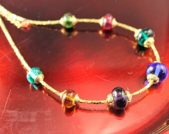 The Rigoletto Lampwork and Bali Vermeil Caps and Gold Plated Bead Necklace in Gold, Multicolor, Purple, Pink, Orange, Green, Blue, Teal