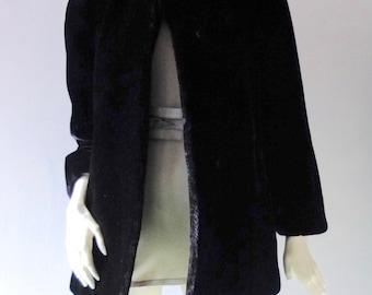 Sasson Paris Black Faux Fur Borgazia Fur 1980s Does 1940s Stroller Coat sz SM to Medium 2 4 6