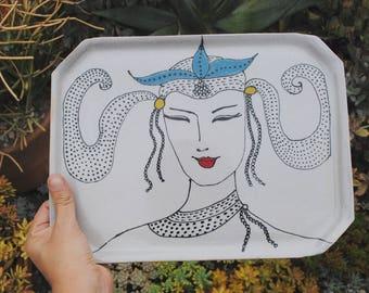 Ceramic dish stoneware plate handmade illustrated serving platter table art