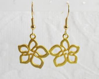 Gold Open Flower, Pierced or Clip On Earrings