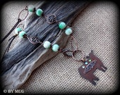 Rustic Metal Show Steer/Heifer/ Cattle Jewelry on Long Boho Style leather, Bead Chain Necklace Approx  30""