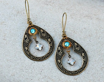 Brass Chandelier Earrings -  Bohemian, Vintage Jewel, Aqua, Hippie Earrings