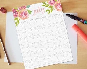July Calendar, Printable calendar, Reusable printable calendar, perpetual, any year, printable DIY, letter size, 8.5 x 11