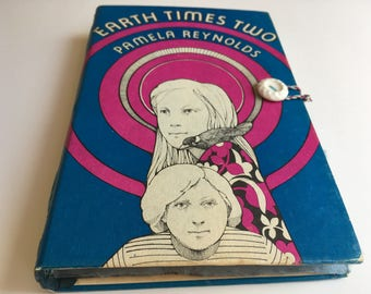 """Seventies Journal, """"Earth Times Two"""" upcycled book with blank pages, pocket, handbound journal, 1970's kids book"""