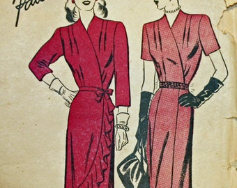 "Vintage 1940s Sewing Pattern, Advance 4110, Misses' Dress, Misses' Size 18, Bust 36"", Hip 39"""