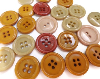 Autumn Vintage Button Lot - 24 Grab Bag Fall Colors Sew Through Blazer Buttons for Jewelry Beads Sewing Knitting Scrapbooking
