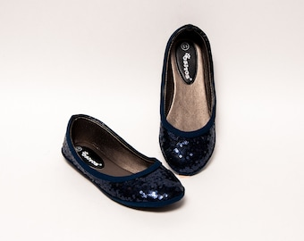 Sequin - Princess Pumps Youth Girl Navy Blue Dress Flats Shoes