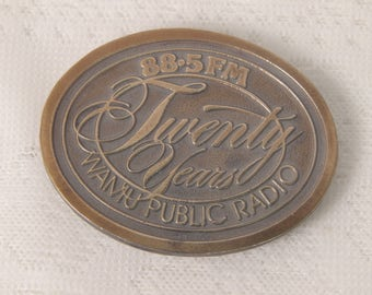 Vintage WAMU Public Radio Men's Belt Buckle 20 years