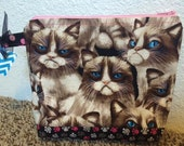 Grumpy Cat, zippered pouch, cosmetic bag, travel bag, grumpy bag pouch, make-up bag, cats