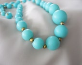 Blue Beaded Necklace, Robins Egg, Tiffany Blue, Lightweight, Early Plastic, Graduated, Choker Style, Gold tone, 1950's