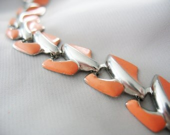 Enamel Link Bracelet, Articulated, Silvertone, 1950's, Salmon, Orange, Chipped Enamel, Vintage Chevrolet, Chevron