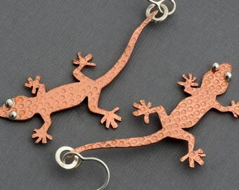 Gecko earrings copper earrings reptile lizard earrings lizard jewelry mixed metal earrings weird stuff unusual earrings contemporary gift