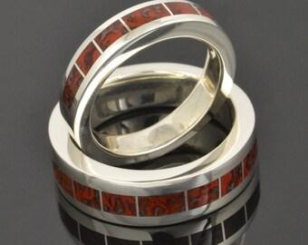Dinosaur Bone Wedding Ring Set in Sterling Silver by Hileman Silver Jewelry