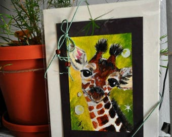 small acrylic painting of giraffe totem on heavy watercolor paper, free shipping