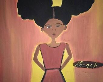 African American art,black girl ,orange art,girls art,,painting acrylic oils african,childrens art, female, african american kids  art