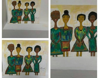Afrikaans sisters art, original black art,oil painting,black women art,african american art,sisters artwork,ladies in dresses art