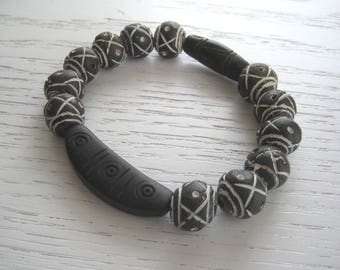 Ethnic Round Ceramic Beads and Hand Carved Wood Beads Bracelet