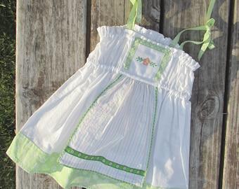 Baby Dress, Swedish Sundress, Cross-stitched Dress, Size12 to18 months
