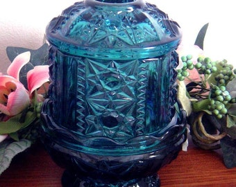 3 piece Vintage Indiana Glass Colorado Blue Fairy Candle Lamp Stars and Bars pattern