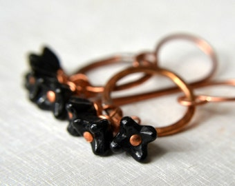 Copper and black bead earrings, rustic copper earrings, black flower earrings - Nightingale