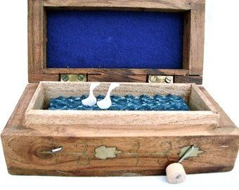 kinetic wooden sculpture, woodland home decor, wood swans automaton, small wood box