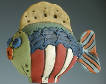 Red Blue and Gold Fish, CLAY FISH, Ceramic Fish, Fish, Porcelain Fish, Whimsical Fish, Fish Sculpture, Sea Creatures, Red and Blue Fish