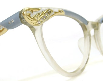 Vintage Beautiful Winged Cat Eye Eyeglasses Sunglasses Frame  Blue with Rhinestones