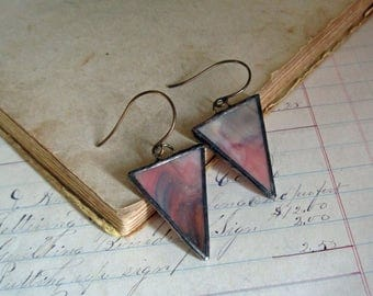 Stained Glass Triangle Earrings Clay Mauve