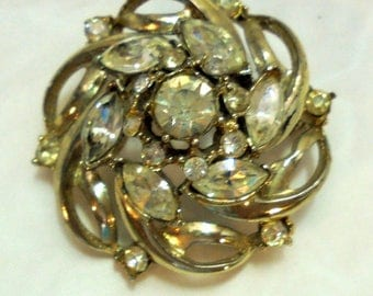 Domed Spiral Vintage Rhinestone Pin, Brooch