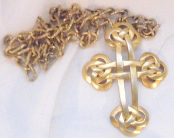 Crown Trifari Large Celtic Cross Pendant with Chain