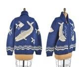 1950s cowichan sweater / Something Fishy wool zipper cardigan / 50s blue novelty fish sweater