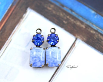 Blue Marble & Sapphire 16x6mm Vintage Octagon Set Stones Swarovski Crystal Connector Earring Drops 1 Ring Antique Brass Settings - 2