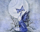 Blue Moon Fox winter 8X10 PRINT by Amy Brown