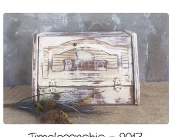 Vintage Breadbox - Breadbox - Bread Box - Wooden Bread Box - Drop Down Bread Box - Wood Breadbox - Vintage Bread Box - White Breadbox