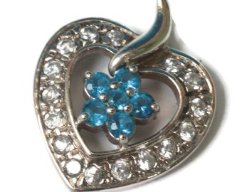 Sterling Heart Pendant Ross-Simons Blue and Clear Stones Vintage