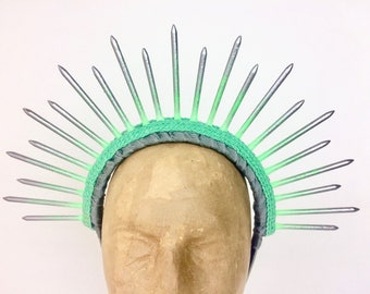 Green and Gunmetal Spike Halo Headpiece