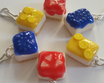 Cheesecake Charms - Polymer Clay - Lemon, Strawberry, or Blueberry