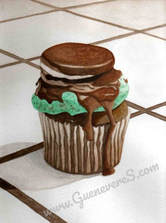 Oreo Mint Cupcake watercolor original painting