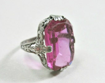 Art Deco Sterling Silver Filigree Ring - Pink Stone - Size 5.25 - 1920s - Cocktail Ring