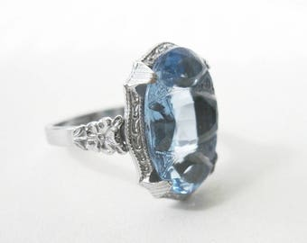 Dainty Vintage Art Deco Silver Ring - Pale Cornflower Blue Stone - Flowers - Size 7 - 1930s - Cocktail Ring